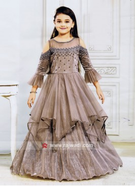Satin and Net Cold Shoulder Gown for Girls
