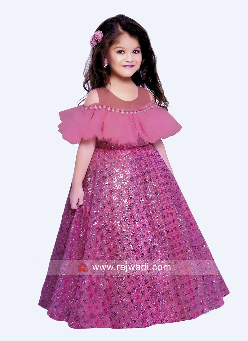 Satin and Net Cold Shoulder Gown for Kids