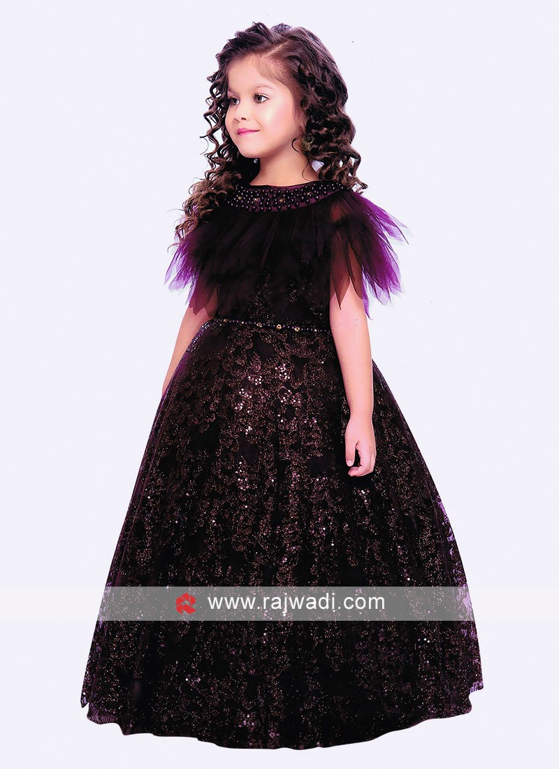 Satin and Net Designer Gown for Girls