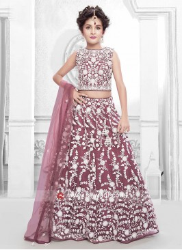 Satin and Net Designer Lehenga Set for Girls