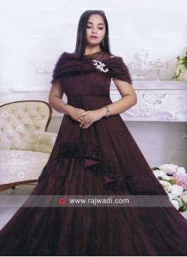 Satin and Net Layered Gown for Girls