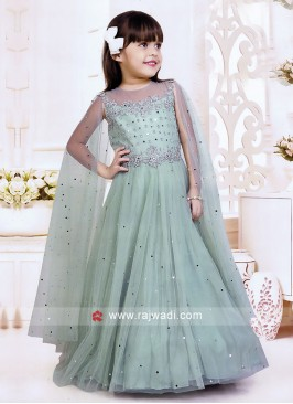 Satin and Net Long Slit Sleeves Gown for Girls