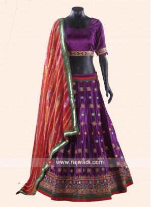 Satin Chaniya Choli in Dark Purple