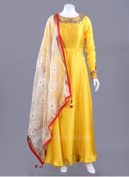 Satin Chiffon Long Anarkali Dress with Embroidered Sleeves