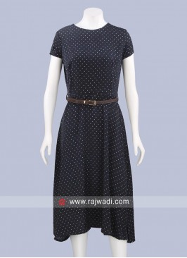 Satin Chiffon Polka Dots Midi Dress with Belt