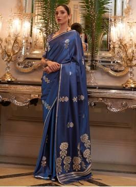 Satin Classic Designer Saree in Blue