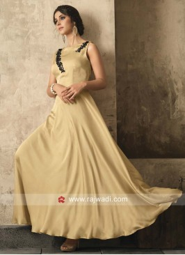 Satin Designer Gown in Cream