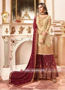 Satin Embroidered Gharara Salwar Kameez