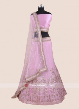 Satin Embroidered Lehenga Choli in Light Pink