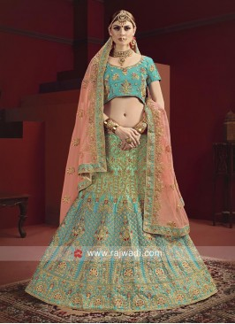 Satin Embroidered Lehenga Choli In Sea Green