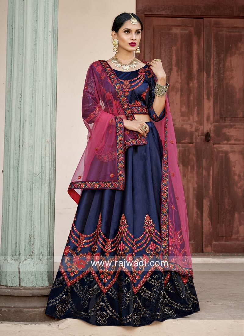 Satin Embroidered Lehenga in Navy Blue