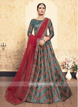 Satin Embroidered Lehenga Set