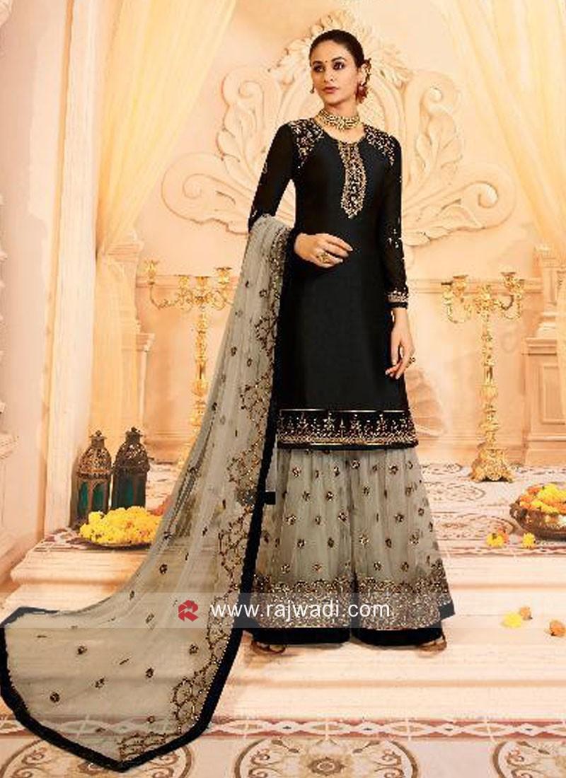 Satin Gharara Salwar Kameez in Black