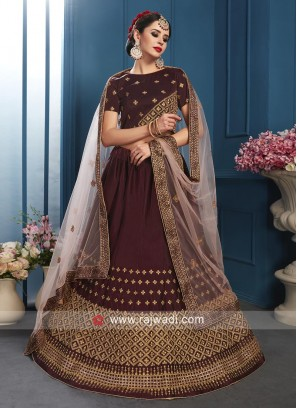 Satin Golden Embroidered Lehenga Set