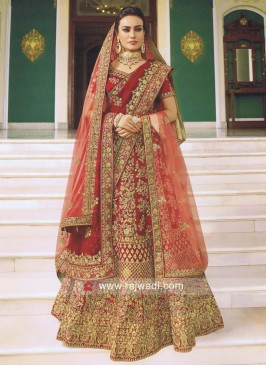 Satin Heavy Embroidered Bridal Lehenga