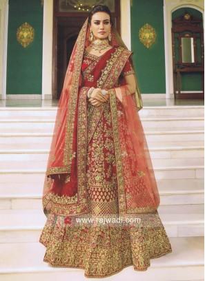 Satin Heavy Embroidered Bridal Lehenga