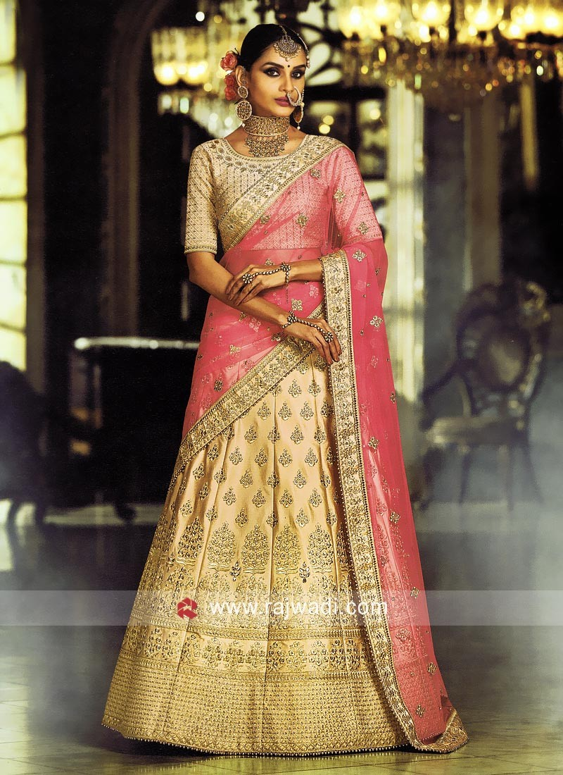 9c0cb866c9 Satin Heavy Embroidered Lehenga. Hover to zoom