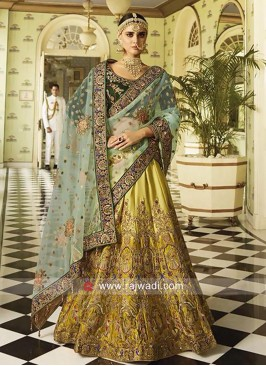 Satin Heavy Embroidery Lehenga Choli and Dupatta
