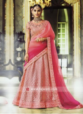 Satin Lehenga Choli with Shaded Dupatta