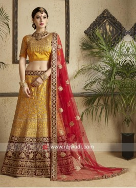Satin Lehenga Set in Mustard Yellow