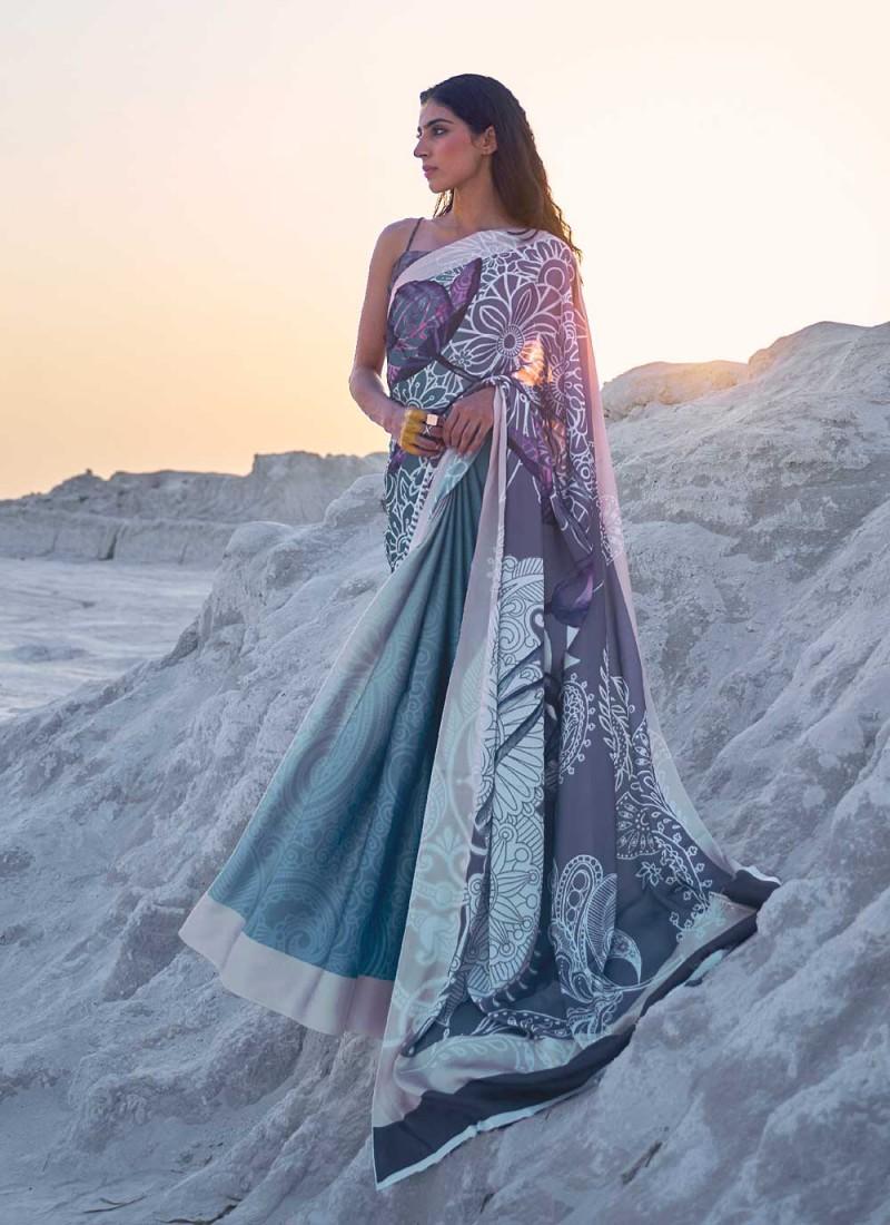 Satin Multi Colour Abstract Print Casual Saree