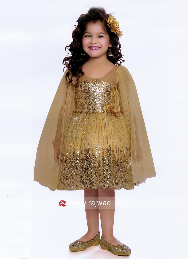Satin Net Fancy Short Frock for Kids