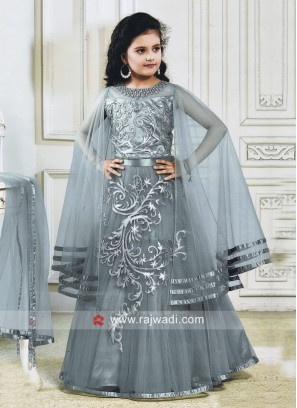 Satin Net Grey Kids Lehenga Choli
