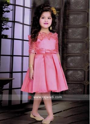 Satin Net Kids Short Dress for Party