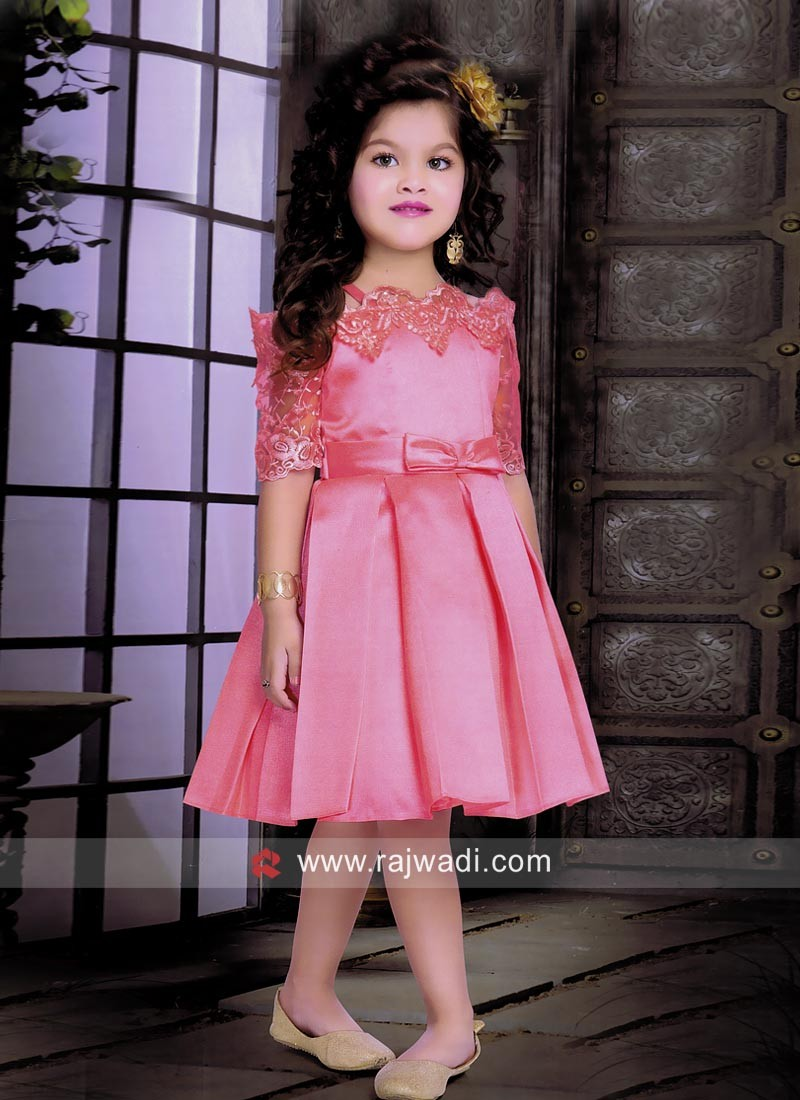Satin Net Kids Short Dress for Party
