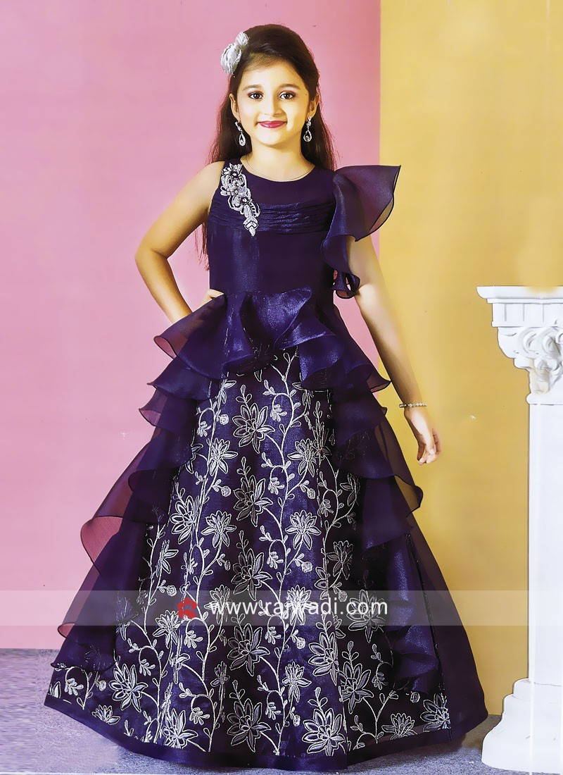 Kids Satin Silk Layered Dress for Party