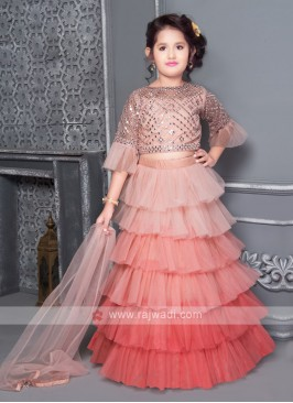 Satin net lehenga choli for girls