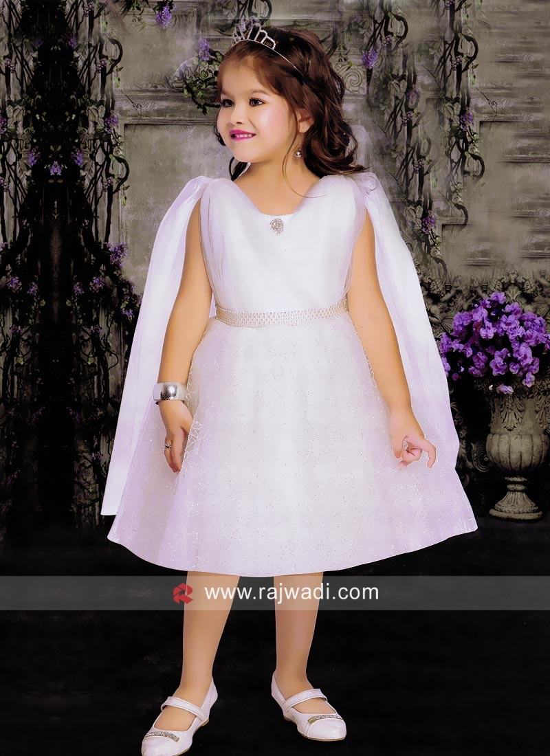 Satin Net White Fairy Short Gown