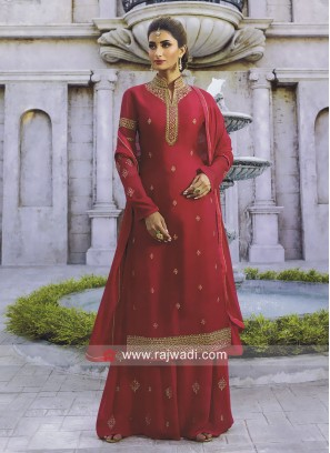 Satin Palazzo Suit with Stand Collar