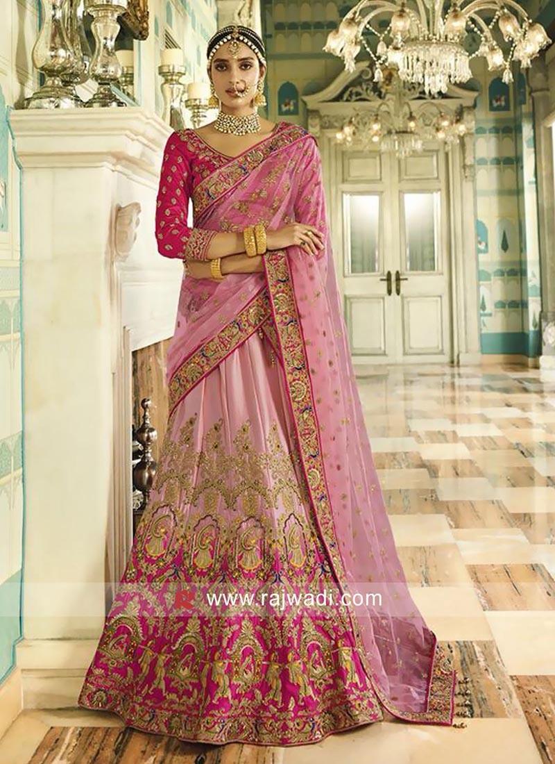 Satin Pink Designer Lehenga