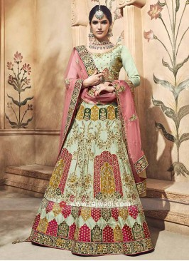 Satin Pista Green Embroidered Lehenga