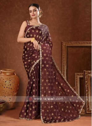 Satin saree in dark brown color