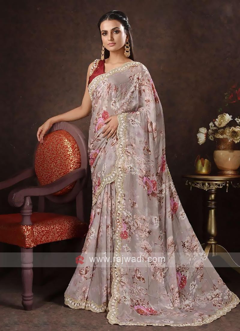 Satin saree in light peach color
