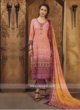 Satin Semi Stitched Printed Salwar Suit