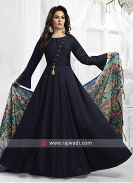 Satin Silk Anarkali Suit in Navy Blue