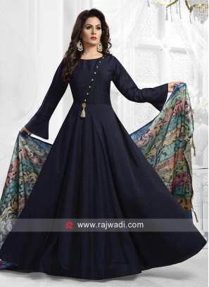 Satin Silk Anarkali Suit in Navy Blue