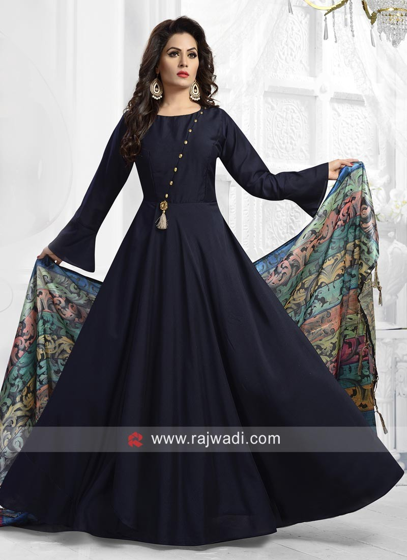 a4d1c911c3 Satin Silk Anarkali Suit in Navy Blue. Hover to zoom