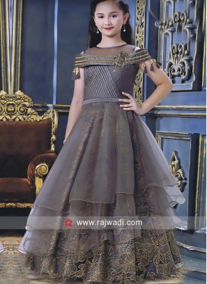 Satin Silk and Net Multi Layered Gown
