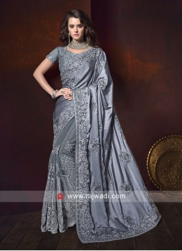 Satin Silk and Net Saree in Grey