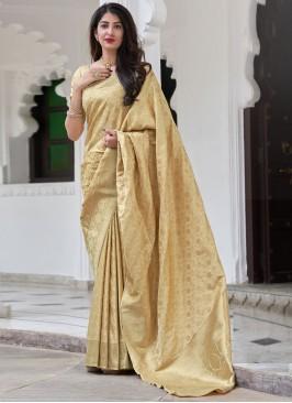 Satin Silk Beige Traditional Saree