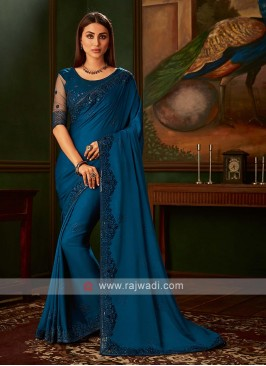 Satin silk blue saree with blouse