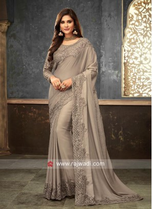 Satin Silk Border Work Designer Saree