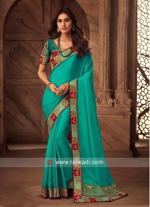 Satin Silk Border Work Saree