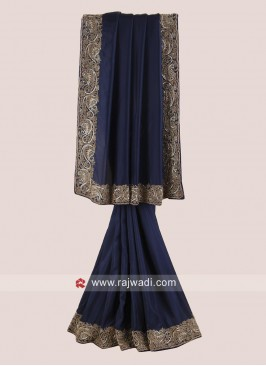 Satin Silk Border Work Saree in Navy Blue