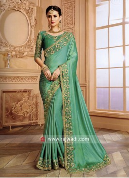 Satin Silk Border Work Saree in Sea Green