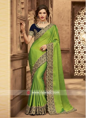 Satin Silk Border Work Sari with Velvet Blouse